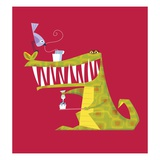 Crocodile brushing his teeth Giclee Print by Harry Briggs