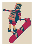 Robot riding a snowboard Giclee Print by Sabet Brands