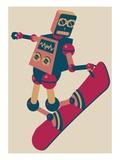 Robot riding a snowboard Giclee Print by Sabet Brands