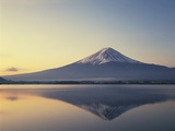 Mt. Fuji reflected in lake, Kawaguchiko, Yamanashi Prefecture, Japan Photographic Print