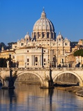 Sant'Angelo Bridge and St. Peter's Basilica Photographic Print by Sylvain Sonnet