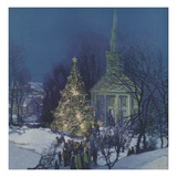 Giant Christmas tree in town square Giclee Print