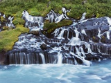 Hraunfossar waterfall Photographic Print by Frank Krahmer