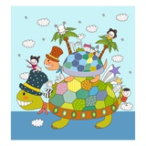 Children enjoying on tortoise back Giclée-Druck
