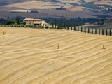 Italy, Tuscany, Harvested corn field, farmstead in background Photographie par Fotofeeling 