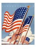 American flags Giclee Print