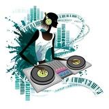 Young woman Dj Using Turntable in Nightclub Giclee Print