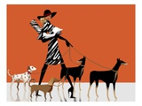 Side profile of a woman walking with her dogs Giclee Print