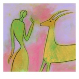 Woman and Impala Giclee Print by Marie Bertrand