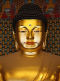 Detail of Sakyamuni Buddha Statue in Main Hall of Jogyesa Temple Photographic Print by Pascal Deloche