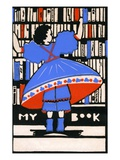 Illustration of girl selecting book Giclee Print