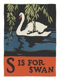 S is for swan Giclee Print