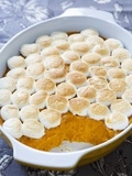 Sweet potatoes with marshmallows in baking dish Photographic Print