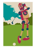 Robot hitting golf ball Giclee Print by Sabet Brands