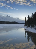 Maligne Lake, at First Light Near Jasper, Alberta, Canada. Photographic Print by kelly funk