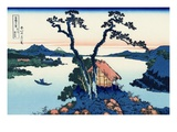 Lake Suwa in the Shinano Province Lmina gicle por Katsushika Hokusai