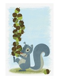 Squirrel Carrying Mound of Acorns Giclee Print