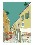 Tables and chairs under canopy by buildings at sidewalk cafe Giclee Print