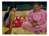 Donne tahitiane Stampa giclée di Paul Gauguin