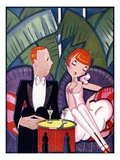 Illustration of 1920s Couple on Date by Fish Giclee Print