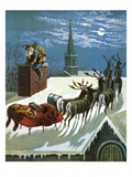 Down the Chimney St. Nicholas Came Lámina giclée por William Roger Snow
