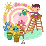Boy sitting on ladder, watering potted plant Giclee Print