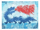 Blue dragon spitting fire Giclee Print by James O'Brien