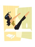 Woman doing Pilates Giclee Print by Harry Briggs