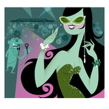 Glamourous woman on red carpet Giclee Print by Kirsten Ulve