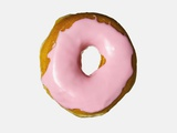 Donut with pink icing Photographic Print