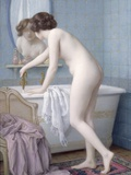 Young Woman Preparing her Bath Photographic Print by Jules Scalbert