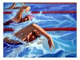 Three Men Swimming, Elevated View Giclee Print