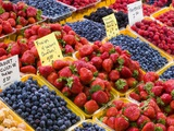 Jean Talon Market with Fresh Berries on Display, Montreal, Quebec, Canada Photographic Print by Chris Cheadle