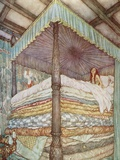The Princess and the Pea Fotografisk tryk af Edmund Dulac