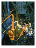 Illustration of Men in Chemistry Lab Giclee Print