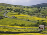 Stone barns and walls in fields Photographic Print by Steven Vidler