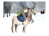 A Girl Riding an Elk with Ornaments on its Antlers in the Snow Scene Giclee Print by Dilka Nassyrova