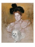Woman in Raspberry Costume Holding a Dog Giclee Print by Mary Cassatt