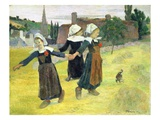 Breton Girls Dancing, Pont-Aven Premium Giclee Print by Paul Gauguin