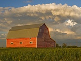 Barn and Cumulonimbus Cloud Mass near Bromhead, Saskatchewan, Canada Photographic Print by Dave Reede