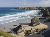 Bedruthan Steps on the shores of Cornwall Fotografie-Druck von Steven Vidler