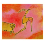 Woman Running from a Ram Giclee Print by Marie Bertrand