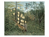 In a Tropical Forest (Struggle between Tiger and Bull) Giclee Print by Henri Rousseau