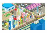 Colorful city Giclee Print by Emma Barratt
