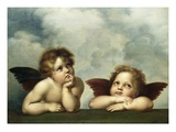 Painting of Cherubim After a Detail of Sistine Madonna Impression giclée par  Raphael