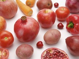 Variety of fruits and vegetables of red color Photographic Print
