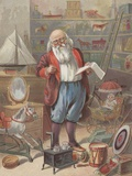 Santa Claus in his toy storage room Photographic Print
