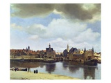 View of Delft Gicle-tryk af Jan Vermeer