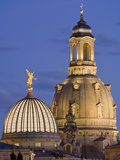 Germany Dresden College of Fine Arts and Frauenkirche at night Photographic Print by Werner Dieterich