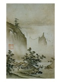 View of a Small Village from Eight Views of the Xiao and Xiang Rivers Stampa giclée di  Shokei